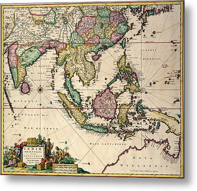 General Map Extending From India And Ceylon To Northwestern Australia By Way Of Southern Japan Metal Print by Nicolaes Visscher Claes Jansz