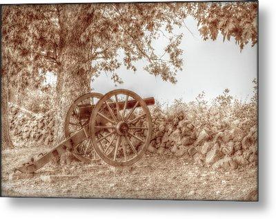 Gettysburg Battlefield Cannon Seminary Ridge Sepia Metal Print by Randy Steele