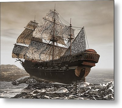 Ghost Ship Of The Cape Metal Print by Lourry Legarde