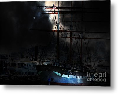 Ghost Ship Of The San Francisco Bay . 7d14032 Metal Print by Wingsdomain Art and Photography