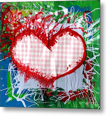 Gingham Crazy Heart Metal Print by Genevieve Esson