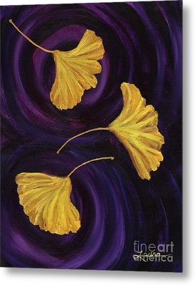 Ginkgo Leaves In Swirling Water Metal Print by Laura Iverson