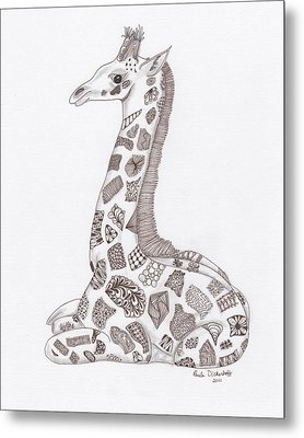 Giraffe Metal Print by Paula Dickerhoff