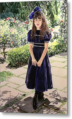 Girl At The Huntington Metal Print by David Lloyd Glover