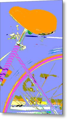 Girl Bicycle Pop Art Metal Print by ArtyZen Studios