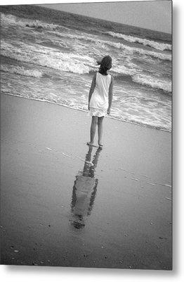 Girl By Ocean Metal Print by Kelly Hazel