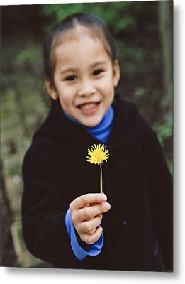 Girl Holding A Flower Metal Print by Ian Boddy