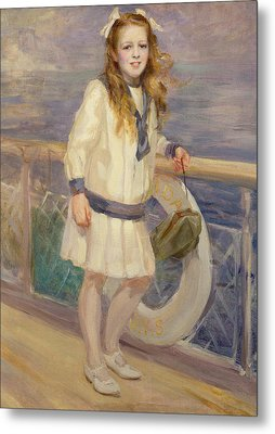 Girl In A Sailor Suit Metal Print by Charles Sims