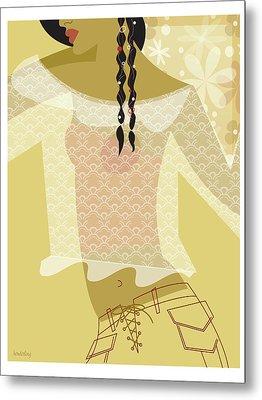 Girl In Lace Metal Print by Lisa Henderling