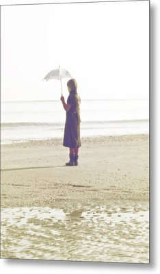 Girl On The Beach With Umbrella Metal Print by Joana Kruse