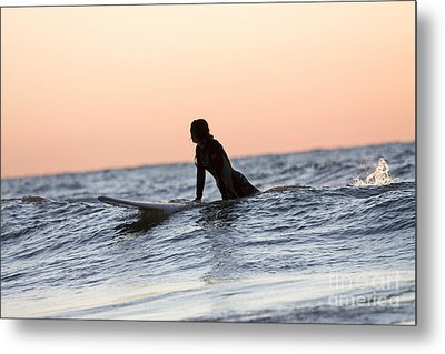 Girl Surfer Catching A Wave In Lake Michigan Metal Print by Christopher Purcell