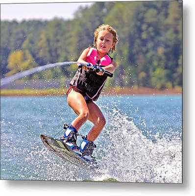 Girl Trick Skiing Metal Print by Susan Leggett