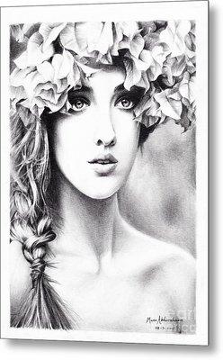Girl With A Floral Crown Metal Print by Muna Abdurrahman
