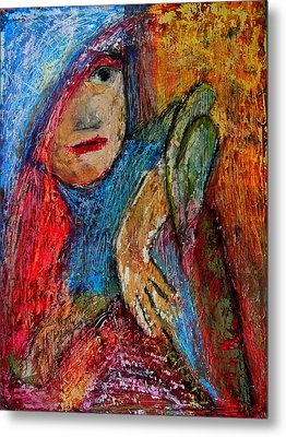 Girl With A Green Parrot  Metal Print by Tammy Cantrell