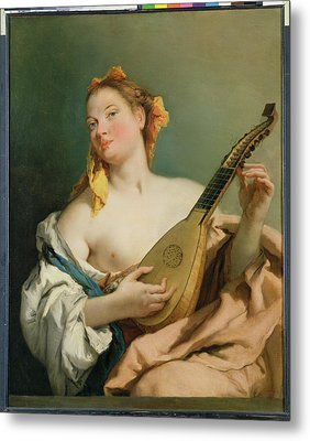 Girl With A Mandolin Metal Print by Giovanni Battista Tiepolo