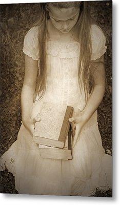 Girl With Books Metal Print by Joana Kruse