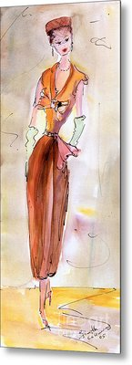 Girl With Pillbox Hat Vintage Fashion  Metal Print by Ginette Callaway