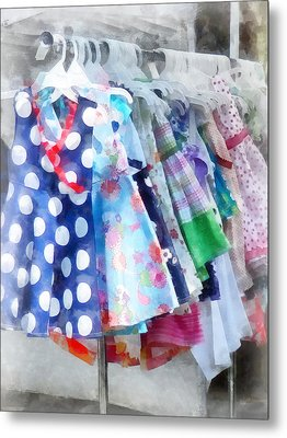 Girl's Dresses At Street Fair Metal Print by Susan Savad