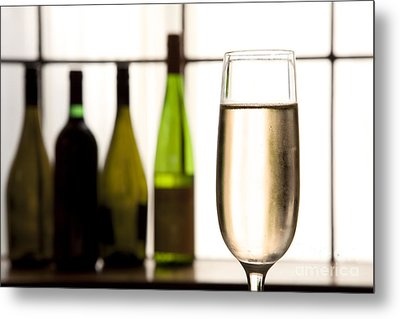 Glass Of Champagne Metal Print by Charlotte Lake