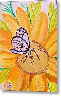 Glass Winged Butterfly Metal Print by Marie Bulger