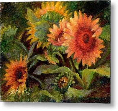 Glowing Sunflowers Metal Print by Sharen AK Harris