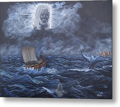 God Summons The Whale Metal Print by Vicky Path