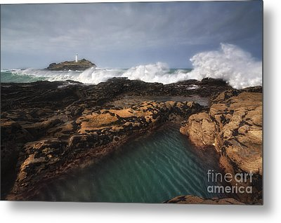 Godrevy Lighthouse In Cornwall, England Metal Print by Arild Heitmann