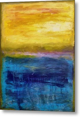 Gold And Pink Sunset Ll Metal Print by Michelle Calkins