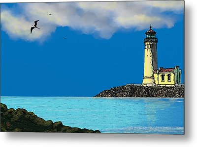 Golden Lighthouse Metal Print by Tony Rodriguez
