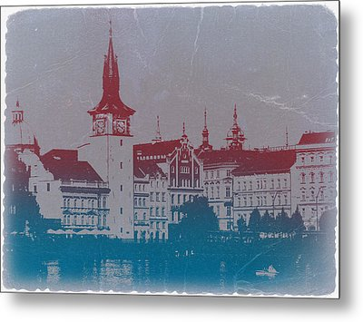 Golden Prague Metal Print by Naxart Studio