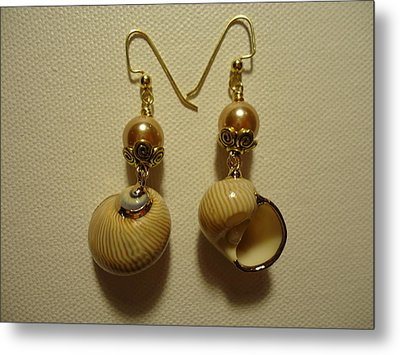 Golden Shell Earrings Metal Print by Jenna Green
