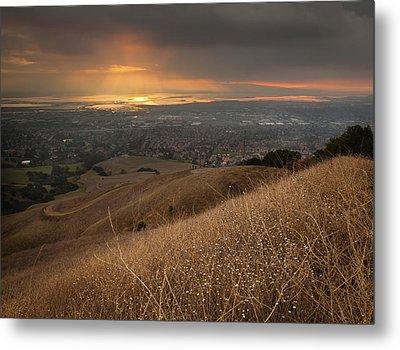 Golden Sunset Over San Francisco Bay Metal Print by Sean Duan