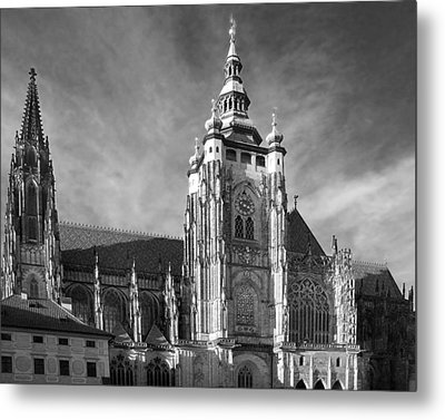 Gothic Saint Vitus Cathedral In Prague Metal Print by Christine Till