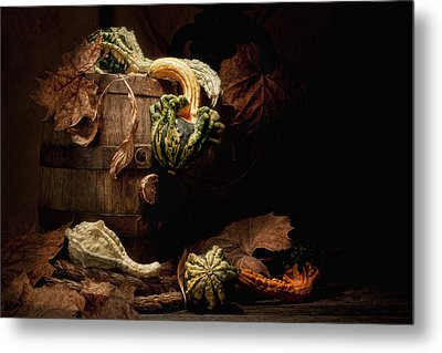 Gourds And Leaves Still Life Metal Print by Tom Mc Nemar