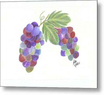 Grapes Metal Print by DebiJeen Pencils