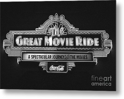 Great Movie Ride Neon Sign Hollywood Studios Walt Disney World Prints Black And White Film Grain Metal Print by Shawn O'Brien