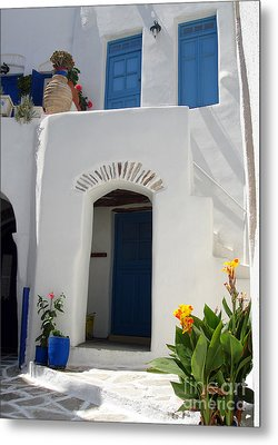 Greek Doorway Metal Print by Jane Rix