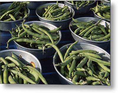 Green Beans In Tin Buckets For Sale Metal Print by David Evans