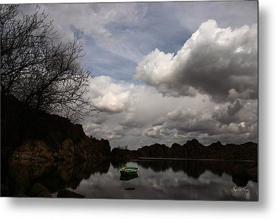 Green Dingy In The Dells Metal Print by Wayne King