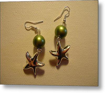 Green Starfish Earrings Metal Print by Jenna Green