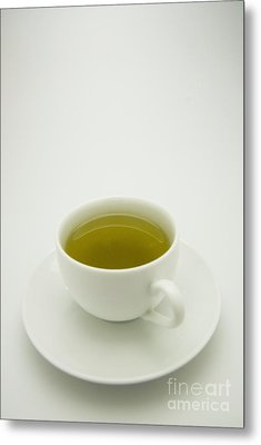 Green Tea In Teacup Metal Print by Thom Gourley/Flatbread Images, LLC