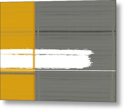 Grey And Yellow Metal Print by Naxart Studio