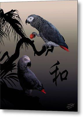 Grey Parrot Harmony Metal Print by IM Spadecaller