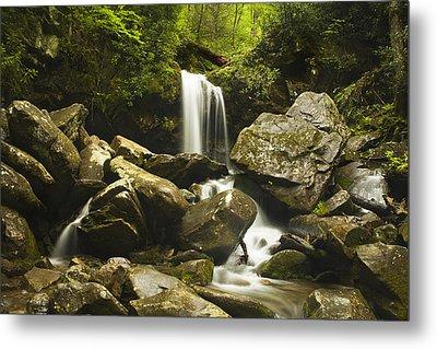 Grotto Falls - Smoky Mountains Metal Print by Andrew Soundarajan
