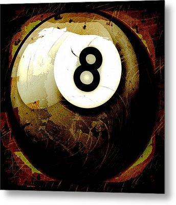 Grunge Style 8 Ball Metal Print by David G Paul