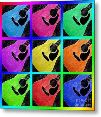 Guitar Tic Tac Toe Rainbow Metal Print by Andee Design