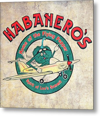 Habaneros Home Of The Flying Pepper Sign 3 Metal Print by Andee Design