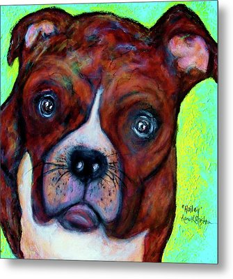 Hailey The Boxer Metal Print by Laura  Grisham