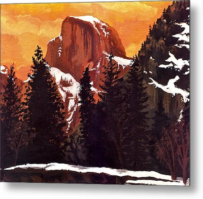 Half Dome Sunset Metal Print by Sara Coolidge