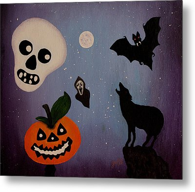 Halloween Night Original Acrylic Painting Placemat Metal Print by Georgeta  Blanaru